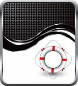 life ring on black checkered wave background