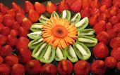 Dessert Tray Of Strawberries And Kiwi Fruit
