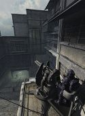 foto of emplacements  - Space marine keeping guard at a heavy gun emplacement in a futuristic city - JPG