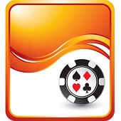 casino chip on modern wave background