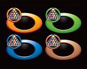 bolas de billar en anillos multicoloras