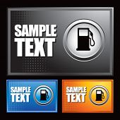gas or fuel icon on multicolored halftone banners