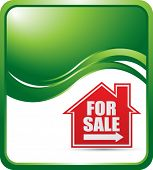 home for sale sign on green wave background