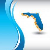 forma de estado de Florida na onda azul vertical