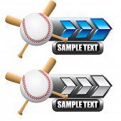 beisebol e morcegos cruzados em banners de azul e branco na placa de identificação