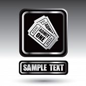 prata de bilhetes de admissão forrado a placa de identificação do ícone preto web