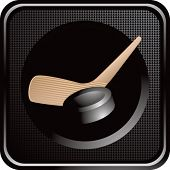 hockey stick and puck black web button