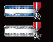 militar medalha guias quadriculadas azuis e prata