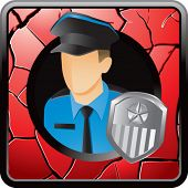 police officer red cracked web icon