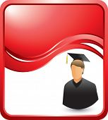 male graduate red wave backdrop