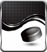 hockey puck black checkered wave