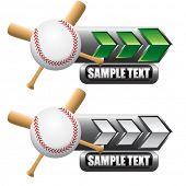 beisebol e morcegos cruzados em placas indicadoras de seta verde e branco