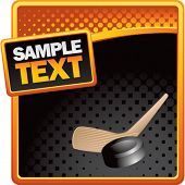 hockey stick and puck orange and black halftone advertisement