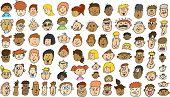 Multicultural People Face doodle sketch Vector Illustration set