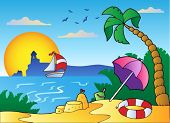 Beach with umbrella and sand castle - vector illustration.