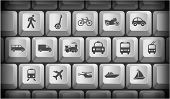 Transportation Icons on Gray Computer Keyboard Buttons Original Illustration