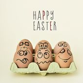 a pile of brown eggs ornamented with funny faces in a yellow egg carton, and the text happy easter o poster