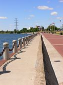 foto of burlington  - A beautiful clean promenade on the lake Ontario in Burlington on a greet