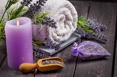Lavender spa setting. Wellness theme with lavender products. poster