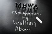 Letters MBWA and text MANAGEMENT BY WALKING ABOUT written with chalk on blackboard background poster