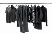 Fashion clothing rack display on white