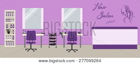 poster of Hair Salon Interior In A Purple Color. Beauty Salon. There Are Tables, Chairs, Mirrors And Shelves W
