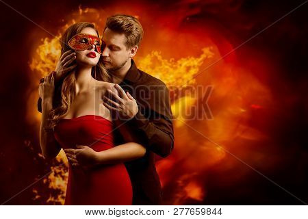 Couple Hot Flaming Kiss Man