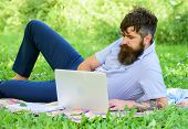 Looking For Inspiration. Man Bearded With Laptop Relaxing Meadow Nature Background. Writer Looking F poster