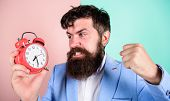 Man Bearded Aggressive Businessman Hold Clock. Stress Concept. Hipster Stressful Working Schedule. B poster