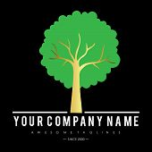 Green Tree With Leaves Logo. Ecology, Natural, Organic Label Or Logo, Tree Vector Illustration Isola poster