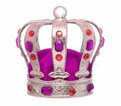 Royal Ceremonial Colorful Crown With Gemstones And Velvet. poster