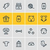 Illustration Of 16 Fauna Icons Line Style. Editable Set Of Fish Bone, Pet Shop, Kibble And Other Ico poster