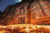Petra By Night, Treasury Ancient Architecture In Canyon, Petra In Jordan. 7 Wonders Travel Destinati poster