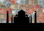 foto of mahatma gandhi  - Taj Mahal India with colorful Rupees background - JPG
