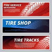 Tire Tread Tracks Banners. Motorcycle, Car And Race Bike Dirty Grunge Road Tire Prints. Tread Automo poster