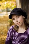 stock photo of  preteen girls  - image of a preteen girl in the fall - JPG