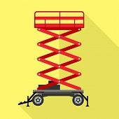 Red Lift Stand Icon. Flat Illustration Of Red Lift Stand Vector Icon For Web Design poster