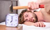 Guy Knocking With Hammer Alarm Clock Ringing. Break Discipline Regime. Annoying Sound. Stop Ringing. poster
