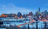 Edmonton Downtown Winter Skyline Just After Sunset Showing Alberta Legislature And Walterdale Bridge poster