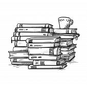 Heaps Of Books With A Cup Of Coffee On The Top, Vector  Illustration poster
