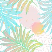Nature Seamless Pattern. Hand Drawn Abstract Tropical Summer Background: Palm Tree Leaves, Squiggles poster