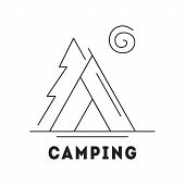 Line Icon With Summer Holiday Activity Concept. Camp With Tent In The Forest. Nature Background With poster