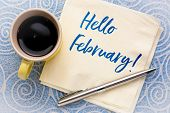 Hello February - handwriting on a napkin with a cup of coffee against lace paper poster