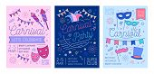 Bundle Of Placard, Flyer Or Invitation Templates For Masquerade Ball, Carnival Or Costume Party With poster