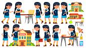 Asian Girl Vector. Primary School Child. Animation Creation Set. Face Emotions, Gestures. Life, Emot poster