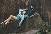 Joy Of Being In Love. Sexy Woman And Bearded Man On Natural Landscape. Sensual Couple On Vacation Tr poster
