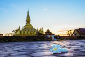 Wat Phra That Luang, Vientiane, Lao Pdr.top View Of Laos,landmark ,landscape And Terrain In Laos,tra poster