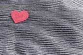 Valentines Day Background, Valentine Heart On Contrasting Black And White Silk Fabric poster