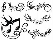 Musical Set With Swallows.musical Sound Wave With Music Notes poster