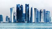 Futuristic Urban Skyline Of Doha, Qatar. Doha Is The Capital And Largest City Of The Arab State Of Q poster